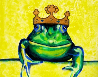 Children's Fairy Tale, The Frog Prince, Original Canvas Painting, Yellow Green Artwork, Baby Girl Nursery Painting, Baby Boy's Nursery Art
