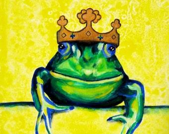Childrens Room Kids Wall Art. The Frog Prince Print, 16 x 16 Playroom Poster Print, Fairytale Art