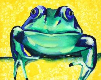 Green Yellow Frog Print. Colorful Children's Room Print 16x16 Nursery Artwork, Boy Room, Girl Nursery, Play Room Art. Poster Print Painting