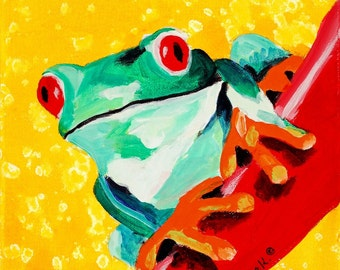 Green Tree Frog, Children's Room Art Print 16 x 16 Kids, Playroom Poster Print, Rainforest Animal Art