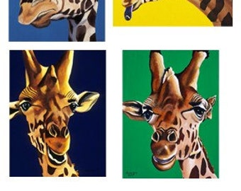 Giraffe Note Cards, Blank Note Cards, Animal Artwork, Set of 8 Notecards, Stationary, blank inside