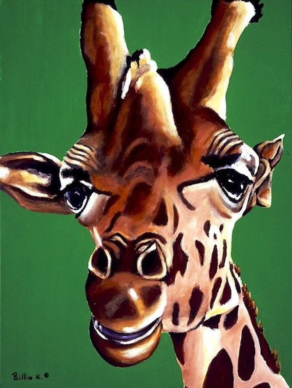 Baby Boy Nursery Art, Giraffe Art, Limited Edition Giclee, Zoo Animal Artwork. Boy's Playroom, Safari Animal, Colorful Giraffe Nursery Art
