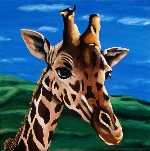 Giraffe Baby Decor, Green Nursery Artwork Print, Brown Zoo Animal. Girl's Boy's Room Art, Blue Baby Room Art. Home Apartment Decor Wall Art