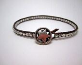 Custom order for Ann beaded leather wrap bracelet, lead free pewter barrel beads, simple bohemian style