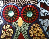 Mosaic Owls Glass on Glass Window Panel
