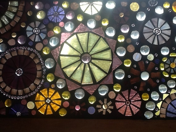 Mosaic Window Panel Glass on Glass Purple and Gold Circles