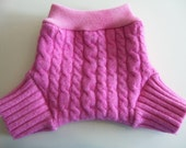Wool Diaper Cover -  Small Recycled Pink Cabled Lambswool and Interlock Wool Diaper Soaker