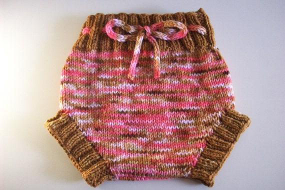 Diaper Cover Wool  -  Hand Knit  Large  Hand dyed  Wool Soaker in Girly Retro