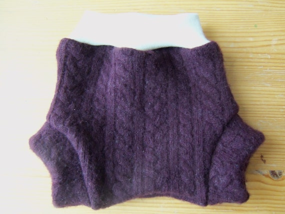 Wool Diaper Cover -   Recycled Maroon Cabled Merino and Cashmere Diaper Soaker With Interlock Wool Waist