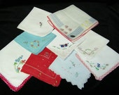 Vintage Lot of 9 Blue and Red Embroidered Floral Handkerchiefs, PERFECT, 7159