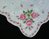 """Vintage 12.5"""" Scalloped Pink Roses Floral Quilting Wedding Favors Handkerchief, 7241"""