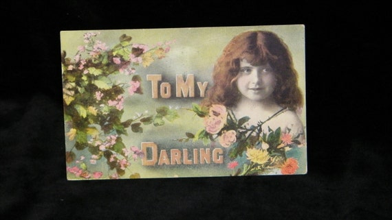 Antique 1910 VALENTINES DAY Postcard, CHILD WITH PINK ROSES
