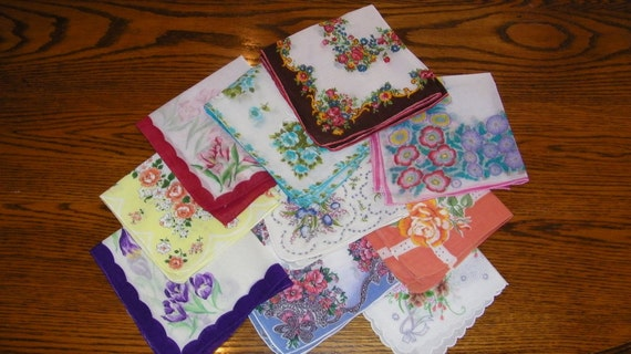 Vintage Lot of 10 Blank Center Mixed Floral Wedding Handkerchiefs for Screenprinting -ALL PERFECT, 4332