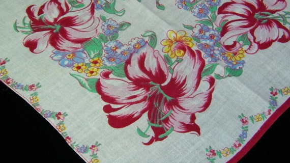 Vintage 1940's Pink/Red Lily Floral Bridesmaid Wedding Quilt Handkerchief, 4390