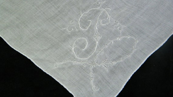 Vintage Embroidered White on White Floral Initial Letter Monogram--J--Handkerchief, 5887