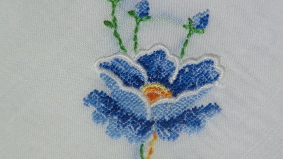 "Vintage 11"" Hand Embroidered Petit-Point Blue Poppy Floral Wedding Handkerchief, 6390"
