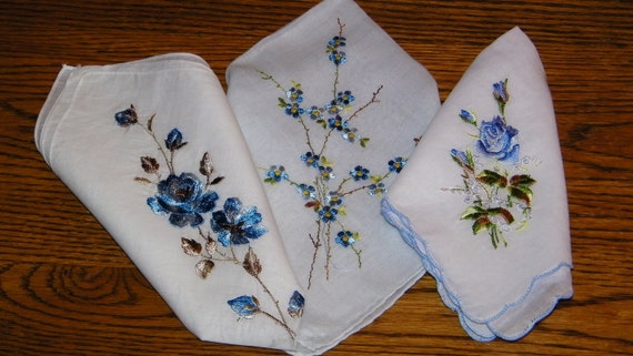 Vintage Lot of 3 Embroidered Blue Floral Bridesmaid Wedding Handkerchiefs, ALL PERFECT, 6986