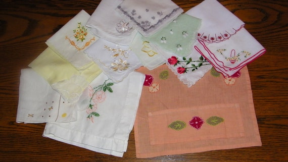 Vintage Lot of 11 Mixed Colors Embroidered Floral CRAFT CUTTER Handkerchiefs Plus Towel & Holder, 7134
