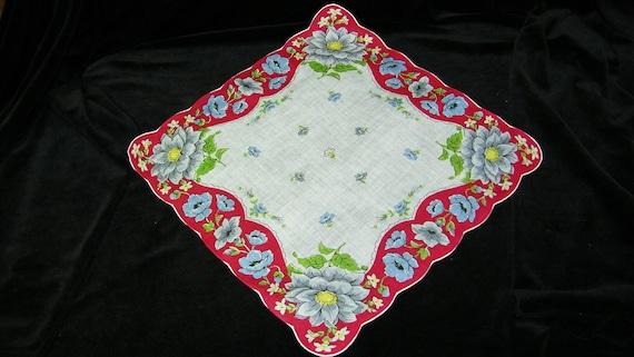 "Colorful 12.5"" Handrolled Linen Gray, Purple, Red Dahlia, Poppy Floral Wedding Handkerchief, 7227"