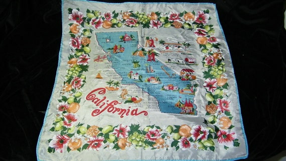 Vintage Silk State of California Scenic Map Ladies Scarf, Scarve, No. 7296