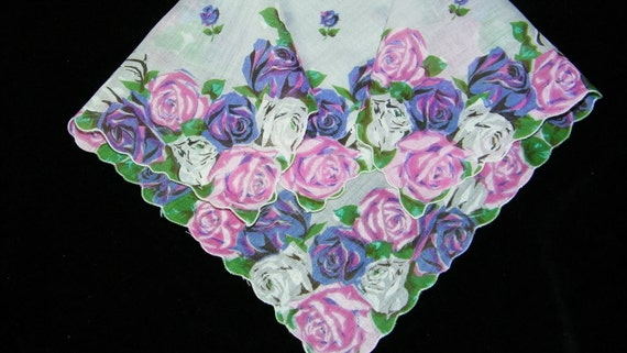 """Vintage 13"""" Scalloped Pink and Purple Roses Floral Wedding Favors Bridesmaid Handkerchief, 7296"""