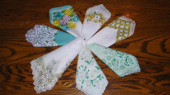 Gorgeous Vintage Lot of 7 Teal Blue, Green and Yellow Floral Blank Center Screenprinting or Quilting Handkerchiefs - PERFECT-7353