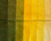 7 Fat Quarters Hand Dyed Quilting Fabric - Golden Yellow - 7 color value steps