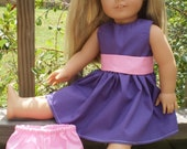 """18"""" Doll Clothes, Purple Dress with bloomers, american made girl doll dress, purple doll underwear, sassydollcreations, girl gift idea"""