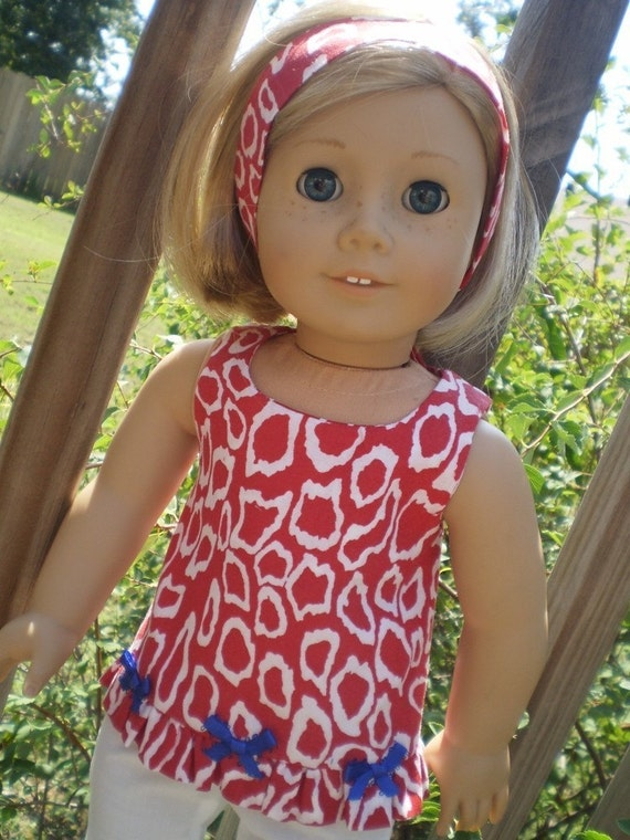 Red white and Blue Pant Set fits the 18 inch American Girl Doll