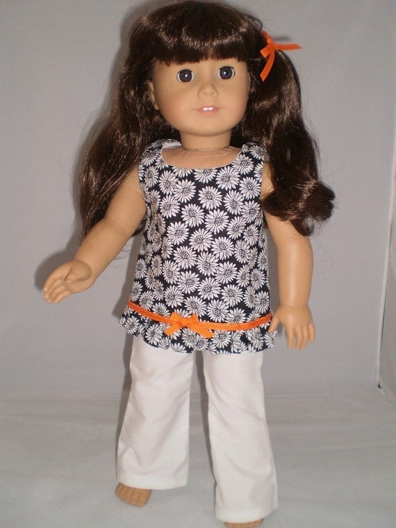 """18"""" doll clothes fit american girl or bitty baby  Black and White Pant Set"""