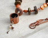 Necklace With Pearls of Orange and Copper, Natural Beads