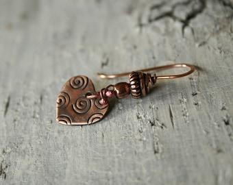 Heart Jewelry Copper Heart Dangle Earrings
