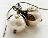 Creamy white pearl and brass leaf earrings - Spring Blossom