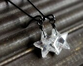 Reserved Listing - ONE earring - Clear cubic zirconia star earrings on sterling silver and gunmetal - Wish