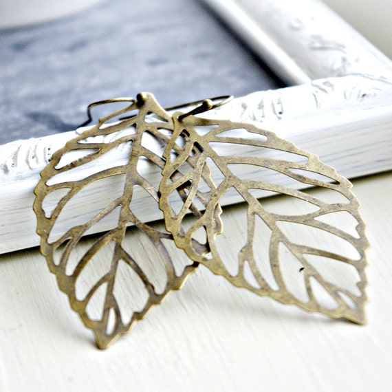 Brass leaf earrings for the nature lover - tbteam