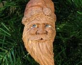 Hand Carved Cottonwood Bark Santa Ornament