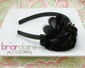 Tatiana - Black Satin and Tulle Puff Flower Classic Headband