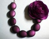Plum Purple Necklace with Ranunculus Flower