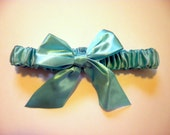 Satin Garter with Large Satin Bow - Lime Green, Hot Pink, Aqua Blue, and Black