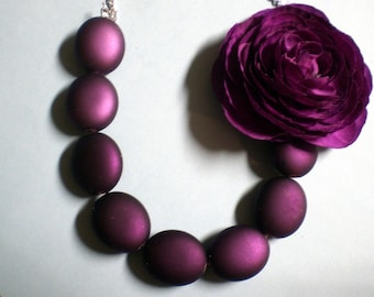 Plum Purple Necklace with Ranunculus Flower