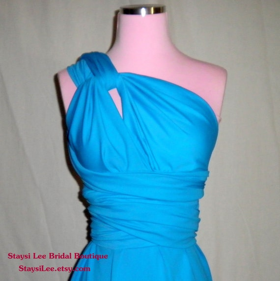 Custom Listing Cristal/Nely Turquoise Blue Wrap Twist Dress...Bridesmaids, Honeymoon, Special Occasion, Prom, Cocktail Party