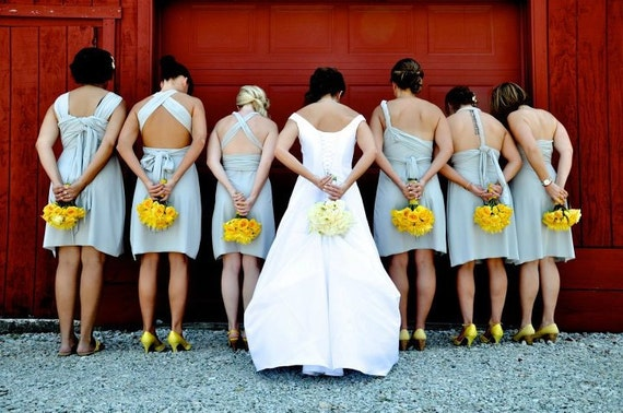 Silver Wrap Twist Convertible Dress...Bridesmaids, Cocktail Party, Beach, Honeymoon, Engagement Party, Wedding