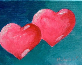 Gift For Wife, Original Fine Art Painting, OOAK Heart, Art Under 50, Canvas Painting, Two Pink Hearts on Blue, 5x7 Wall Art, Valentine Gift