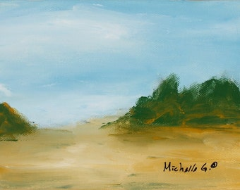 Small Artwork, Abstract Landscape, Daily Painting, Western Desert Landscape, Contemporary Art Under 50, Canvas Wall Art, Ready To Hang, Sand