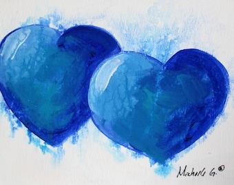 Original Fine Art Painting - Blue Heart