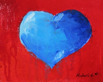Blue Heart, Original Painting, Gift For Him, Red, Valentine, Small Art, 5 x 7, Bathroom Art, Gift for Wife, Housewarming Gift, Kitchen Decor