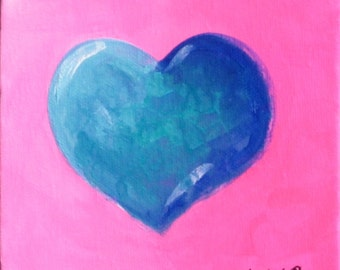 Wedding Gift, Blue Heart, Pink Background, Original Painting, Canvas Painting, Gift For Teen Girl, Ready To Hang, Heart Art, Engagement Gift