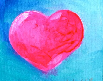 Pink Heart, Blue Background Original Fine Art Painting Canvas Wall Art -Valentine