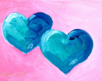 Original Fine Art Painting - Blue Hearts, on Hote Pink Background-Valentine
