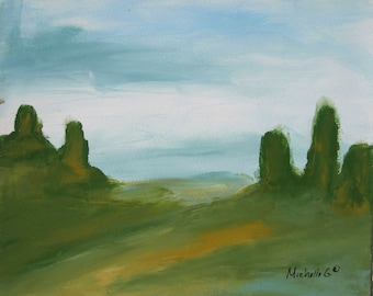 Landscape Painting, Canvas Art, Abstract Western Landscape, Green and Blue Nature Landscape 3, Wall Art, Home Decor